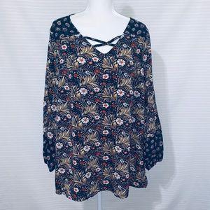 Women's 14/16 Avenue Navy Floral Blouse Plus XL
